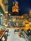 Pezenas, south of France. PEZENAS, FRANCE - January, 19, 2019: charming village of Pezenas decorated for Christmass, south of France, Herault stock image