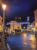 Pezenas, south of France. PEZENAS, FRANCE - January, 19, 2019: charming village of Pezenas decorated for Christmass, south of France, Herault royalty free stock photo