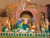 Pezinok - Folklore geschnitztes Bethlehem in der Liebhaberkirche. Lizenzfreie Stockbilder