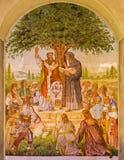 Pezinok - st.西里尔和Metod壁画奥古斯丁巴塔从年1942年- 1945年在恋人教会里。 库存照片