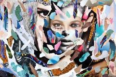 Pezzi colorati incollati residui della rivista fotografia stock libera da diritti