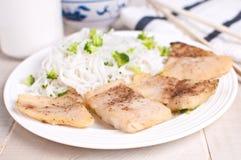 Pezzi cotti a vapore del filetto di pesce Fotografie Stock