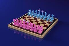 Pezzi degli scacchi blu e rosa che stanno sulle posizioni di partenza sulla scacchiera classica Vista generale Concetto: confront illustrazione di stock
