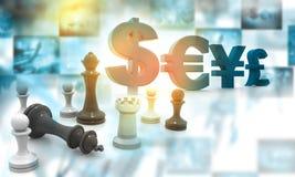 Pezzi degli scacchi con le valute globali Immagini Stock Libere da Diritti