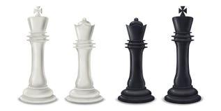 Pezzi degli scacchi della regina e di re - illustrazione digitale Fotografia Stock