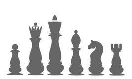 Pezzi degli scacchi delle icone Il re, regina, vescovo, corvo, cavaliere, pegno Fotografia Stock Libera da Diritti