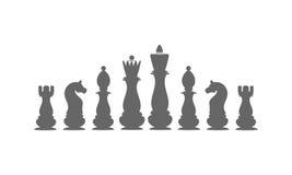 Pezzi degli scacchi delle icone Il re, regina, vescovo, corvo, cavaliere, pegno Immagini Stock Libere da Diritti