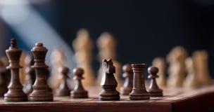 Pezzi degli scacchi di legno su una scacchiera Fotografie Stock Libere da Diritti