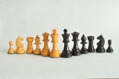 Pezzi degli scacchi differenti isolati su un fondo bianco Fotografie Stock Libere da Diritti