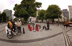 Pezzi degli scacchi giganti Christchurch Immagine Stock