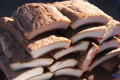 Pezzi del bacon del porco Fotografie Stock Libere da Diritti