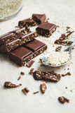 Pezzi del cioccolato con i semi di sesamo Fotografia Stock Libera da Diritti