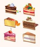 Pezzi del dolce del fumetto Illustrazione di vettore Fotografie Stock Libere da Diritti