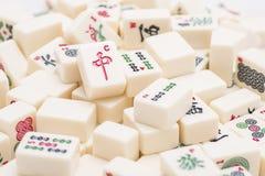 Pezzi del gioco da tavolo di Mahjong Fotografia Stock