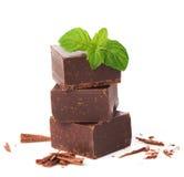 Pezzi del primo piano di parti del cioccolato e di foglie di menta isolate su w immagine stock libera da diritti