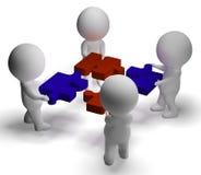 Pezzi del puzzle che si sono uniti mostrando lavoro di squadra e montaggio illustrazione vettoriale