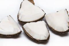 Pezzi della noce di cocco isolati su un fondo bianco Fotografie Stock Libere da Diritti