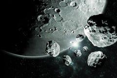 Pezzi delle meteoriti dall'immagine dello spazio profondo della luna, dall'ideale di fantasia della fantascienza per la carta da  immagini stock