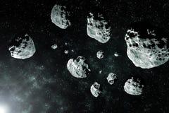 Pezzi delle meteoriti dall'immagine dello spazio profondo della luna, dall'ideale di fantasia della fantascienza per la carta da  fotografia stock libera da diritti