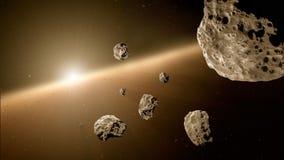 Pezzi delle meteoriti dopo l'immagine dello spazio profondo di esplosione, l'ideale di fantasia della fantascienza per la carta d fotografia stock libera da diritti