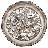 Pezzi di argento sul vassoio Fotografia Stock Libera da Diritti