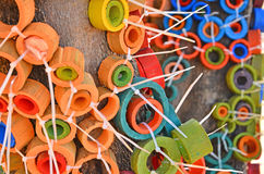 Pezzi di bambù colorati Fotografie Stock Libere da Diritti