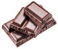 Pezzi di barra di cioccolato Percorsi di ritaglio Fotografia Stock