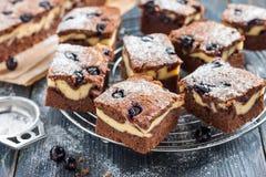 Pezzi di brownie della torta di formaggio del cioccolato con la mora Fotografia Stock