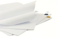 Pezzi di carta e le clip Immagini Stock