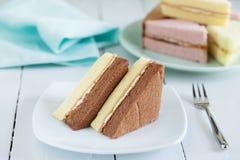 Pezzi di dolce chiffon del burro e del cioccolato sul piatto Fotografia Stock