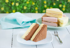 Pezzi di dolce chiffon del burro e del cioccolato sul piatto per lo spuntino Fotografie Stock Libere da Diritti