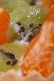 Pezzi di fette del mandarino e del kiwi macro Immagini Stock Libere da Diritti