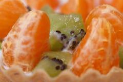 Pezzi di fette del mandarino e del kiwi orizzontali. Fotografia Stock Libera da Diritti
