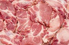 Pezzi di fondo fresco della carne cruda Fotografia Stock