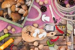 Pezzi di funghi, di peperoni e di spezie bianchi Immagini Stock
