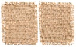 Pezzi di licenziamento del panno della tela da imballaggio, toppa rustica del sacco del tessuto di insaccamento fotografia stock