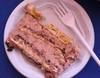 Pezzi di ona saporito del dolce un piatto eliminabile Fotografia Stock