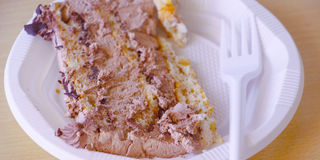 Pezzi di ona saporito del dolce un piatto eliminabile Immagine Stock Libera da Diritti