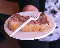 Pezzi di ona saporito del dolce un piatto eliminabile Fotografia Stock Libera da Diritti