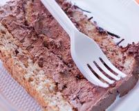 Pezzi di ona saporito del dolce un piatto eliminabile Immagini Stock Libere da Diritti
