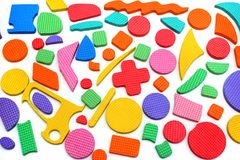Pezzi di plastica di puzzle dei bambini del ritaglio Immagini Stock Libere da Diritti