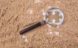 Pezzi di puzzle con la lente d'ingrandimento Immagine Stock Libera da Diritti