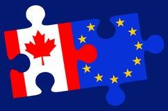 Pezzi di puzzle della bandiera del Canada e di Europa Fotografie Stock