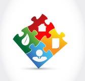 Pezzi di puzzle di colore di Infographic Fotografia Stock Libera da Diritti