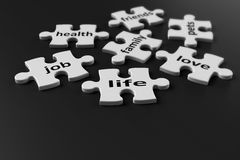 Pezzi di puzzle di vita Fotografia Stock