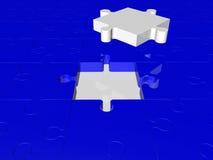 Pezzi di puzzle nei colori bianchi e blu Immagini Stock