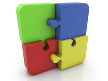 Pezzi di puzzle in vari colori su bianco Immagini Stock