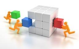 Pezzi mancanti adatti di cubo di puzzle Immagini Stock