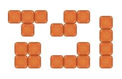 Pezzi quadrati del mattone per progettazione del gioco Fotografia Stock Libera da Diritti