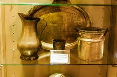 Pezzi turchi antichi nella vetrina del museo Fotografie Stock Libere da Diritti